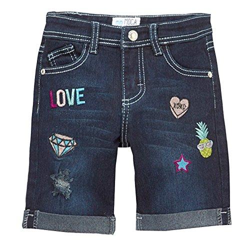Mini Moca Big Girls Dark Blue Denim Embroidery Detail Bermuda Shorts 10 by Mini Moca (Image #1)