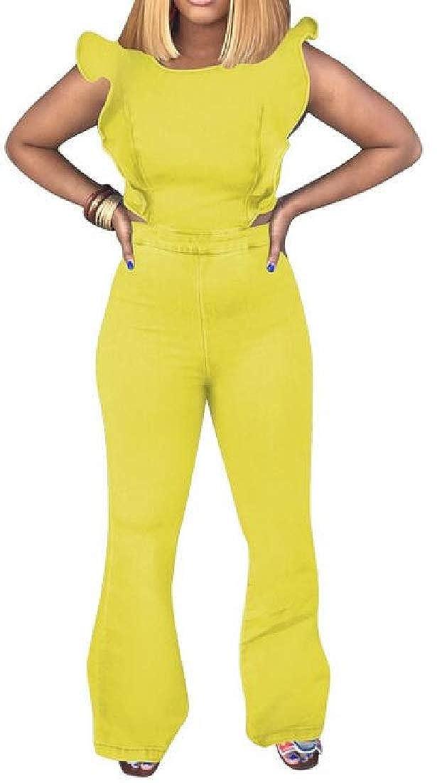 Fubotevic Womens Bell Bottom Flared Pants Sleeveless Denim Ruffle Jumpsuit Romper