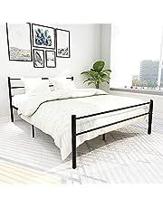 Metal Bed Frame Easy Set-Up Steel Platform Bed No Box Spring Needed ,(Queen, Black)