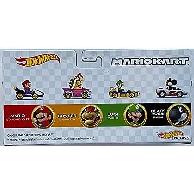 Hot Wheels Mariokart 4-Pack Exclusive Black Yoshi P-Wing Mario Bowser Luigi: Toys & Games