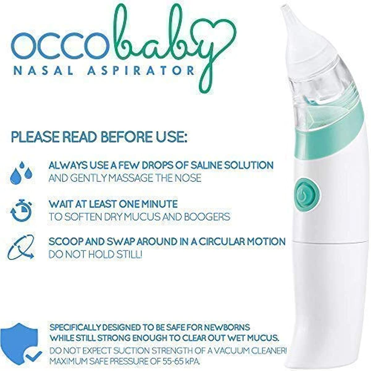 Safe Hygienic And Quick Battery Operated 100% Original Occobaby Baby Nasal Aspirator Baby