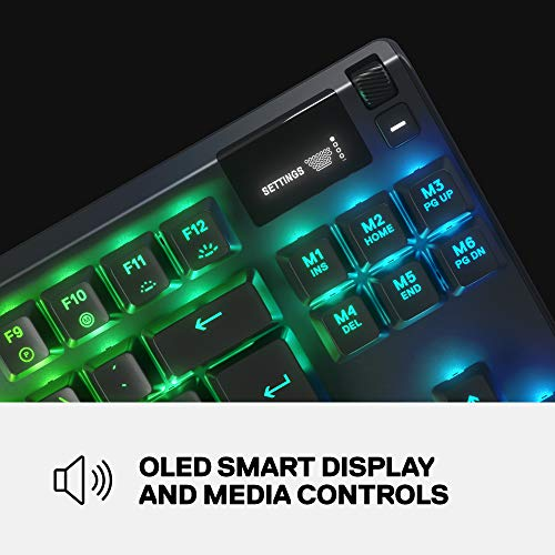 SteelSeries Apex 7 TKL Compact Mechanical Gaming Keyboard – OLED Smart Display – USB Passthrough and Media Controls – Linear and Quiet – RGB Backlit (Red Switch)
