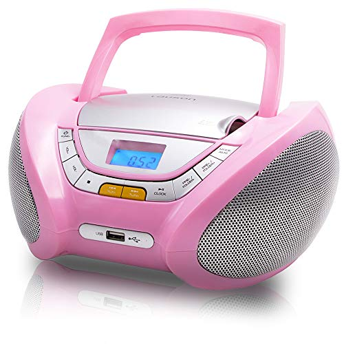 Lauson Boombox Pink Cd Player and Radio | USB & MP3 | Kids Cd Player Portable | CD-Player Stereo with USB | Headphone Jack (3.5mm) CP548 (Pink)