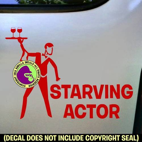 STARVING ACTOR Actress Acting Stage Vinyl Decal Bumper Sticker Car Window Laptop Wall Sign RED