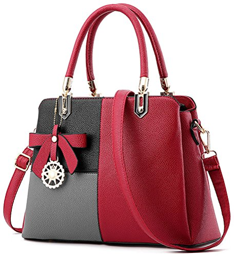 Top Top Multicolour Cross Red Bag Handbags Women's Shoulder Handbag Handle Grey Body Zip Bag Leather Bag Grey with Faux PdR1RqwX
