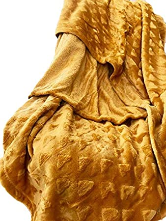 Jaune Moutarde Linder Plaid Tout Doux Polyester 130 x 180 cm