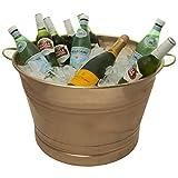 Old Dutch International Big Copper Metal Ice Bucket Party Tub With Handles, 7.75 Gallon 22 Inch W X 12.25 Inch H