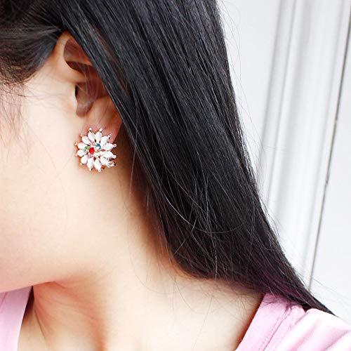 1Pair Women Girls Simple White Color Sunflower Rhinestone Crystal Stud Earrings