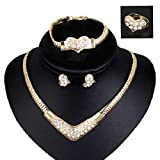 NYKKOLA 18K Rose Gold Plated Crystal Necklace Bracelet Earrings Present Jewelry Set For Wedding Prom Party