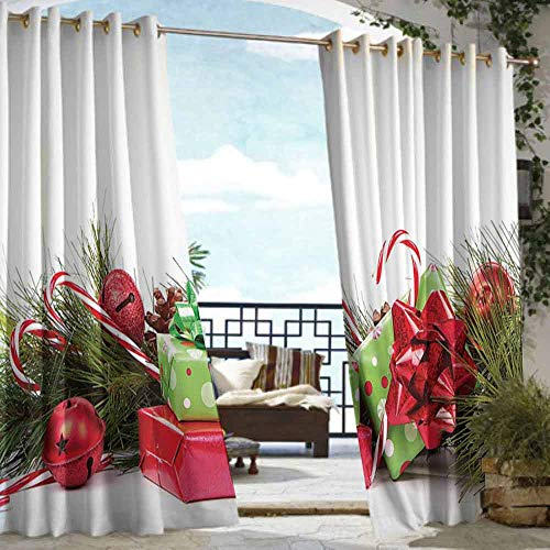 DILITECK Sliding Door Curtain Christmas Ornate Boxes with Dots Candy Cane Festive Wrapped Seasonal Elements Surprise Grommet Curtains for Bedroom W108 xL84 Fern Green - Cane Christmas Dot Candy Green