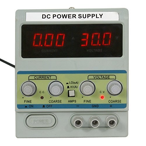 Smartxchoices Variable Adjustable DC Power Supply Digital Regulated Lab Grade W/ Clip Cable,30V 5A (305D)