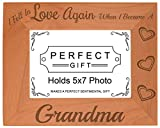 ThisWear Gift Grandma Fell in Love Became Grandma Natural Wood Engraved 5x7 Landscape Picture Frame Wood