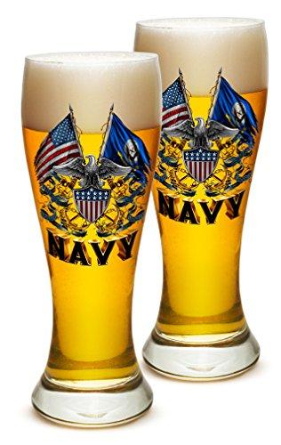 Pilsner United States Navy Gifts for Men or Women - US Navy American Soldier Beer Glassware - Full Eagle Double Flag Eagle Navy Shield Barware Glasses - Set of 2 (23 Oz) ()