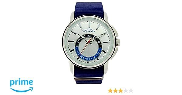 Reloj Vintage para Hombre Correa de Tela Color Azul, Esfera Color Plateado: Relojes Calgary: Amazon.es: Relojes