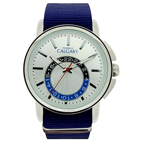Relojes Calgary New Ashbury. Reloj Vintage para Hombre Correa de Tela Color Azul, Esfera Color Plateado: Amazon.es: Relojes