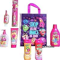 Kids Shopkins Hygiene & Dental Bathroom Travel Bathing Gift Set 9 Pcs, Powered Toothbrush, Shampoo, Body Wash Etc by mooose