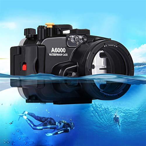 Camera Bag, Depth Waterproof Case Underwater Photography Swimming Diving Box Shell Fat Cow Professional Housing Case PULUZ for Sony A6000 (Black)