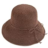 Melesh Women's Bucket Hats Fashion Womens Summer Beach Sun Straw Hat (Coffee)