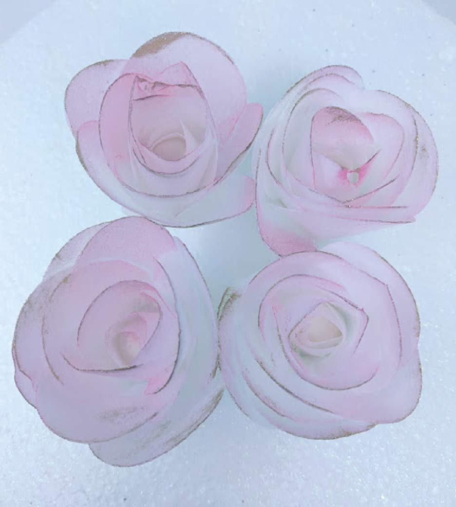 4-3D Edible Rice Paper Roses Flower for Cake Decoration, 3D Cake Toppers, Pink with Gold on the borders