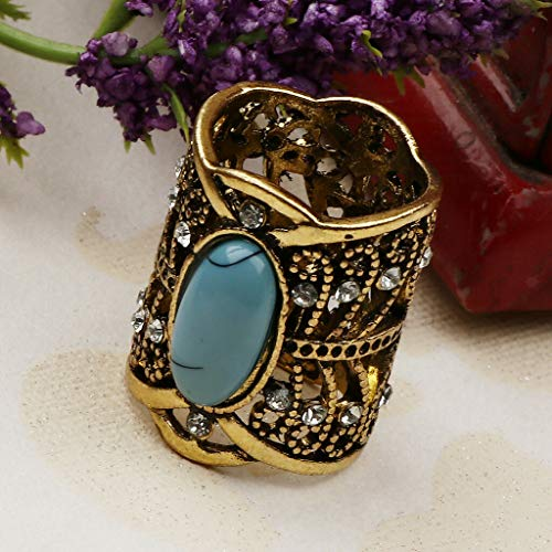 (Vintage Crystal Buckle Ring Hollow Style Turquoise Scarf Ring Buckle Clip (Color - Antique Bronze))