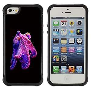 LASTONE PHONE CASE / Suave Silicona Caso Carcasa de Caucho Funda para Apple Iphone 5 / 5S / octopus purple kraken monster diving