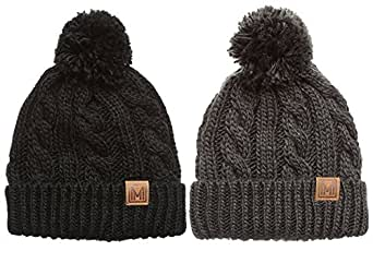 MIRMARU Winter Oversized Solid Color Cable Knitted Pom Pom Beanie Hat with Fleece Lining. (Black & Dark Grey)