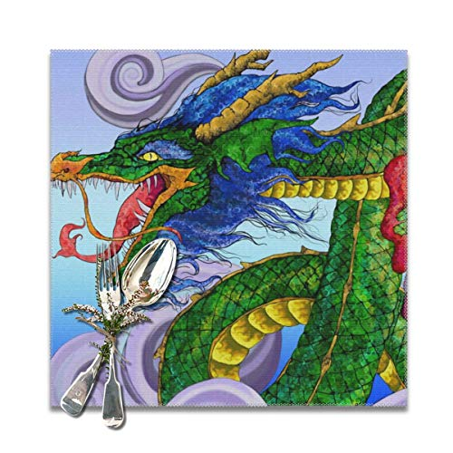 Scarlett Life Hall China Dragon Asia GreenDecorative Polyester Placemats Set of 6 Printed Square Plate Cushion Kitchen Table Heat-Resistant Washable Dining Room Family Children