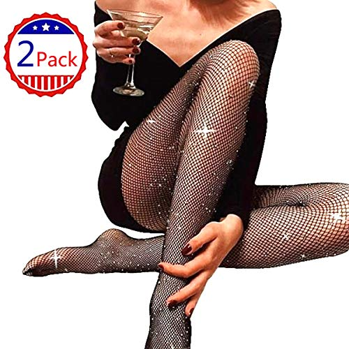 (2 Pair Fishnet Stockings Waist High Net Tights for Women Seamless Hosiery Pantyhose DORALLURE (Z-Rhinestone-Black Small Hole 2 Pair, One)