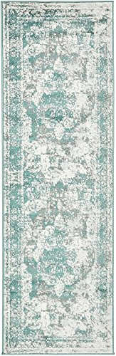 Unique Loom 3137825 Sofia Collection Traditional Vintage Beige Area Rug, 2' x 7' Runner, Turquoise (7 2 X Runner)