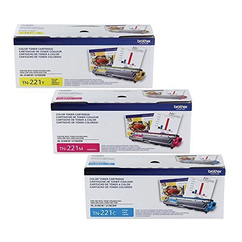 Brother Genuine TN221C, TN221M, TN221Y Color Laser Cyan, Magenta and Yellow Toner Cartridge Set