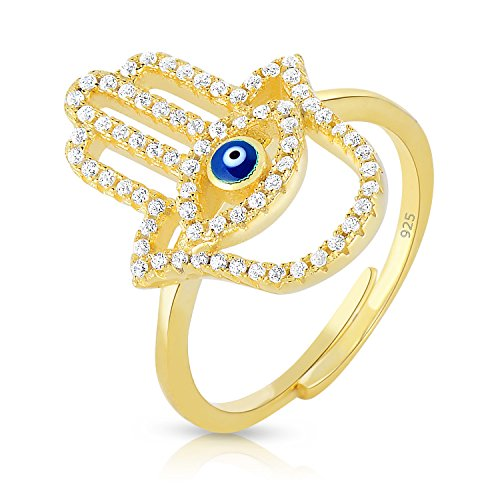 (Unique Royal Jewelry Hamsa Hand Evil Eye Sterling Silver Adjustable CZ Ring - 14k Yellow Gold Plated - Size 7)