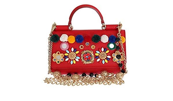a2b22ffd244e Amazon.com  Dolce   Gabbana - Purse VON Red Leather Crystal Carretto POM POM   Shoes