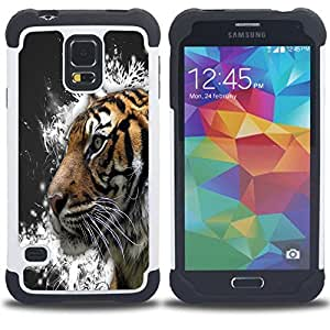 BullDog Case - FOR/Samsung Galaxy S5 I9600 G9009 G9008V / - / GREY TIGER PAINTING CRYSTALS SNOW /- H??brido Heavy Duty caja del tel??fono protector din??mico - silicona suave