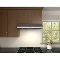 Zephyr AK2500BS 30 Power: Hurricane Under Cabinet Hood with 695 CFM 5.5 Sones Electronic Touch Controls 3 Speed Levels and Halogen Lighting in Stainless steel