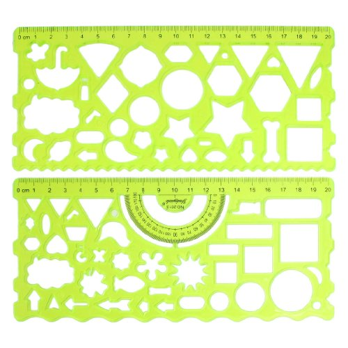 (Uxcell a13040900ux0214 Clear Green Plastic Hollow Students Geometric Template Student Ruler Set (Pack of 2))