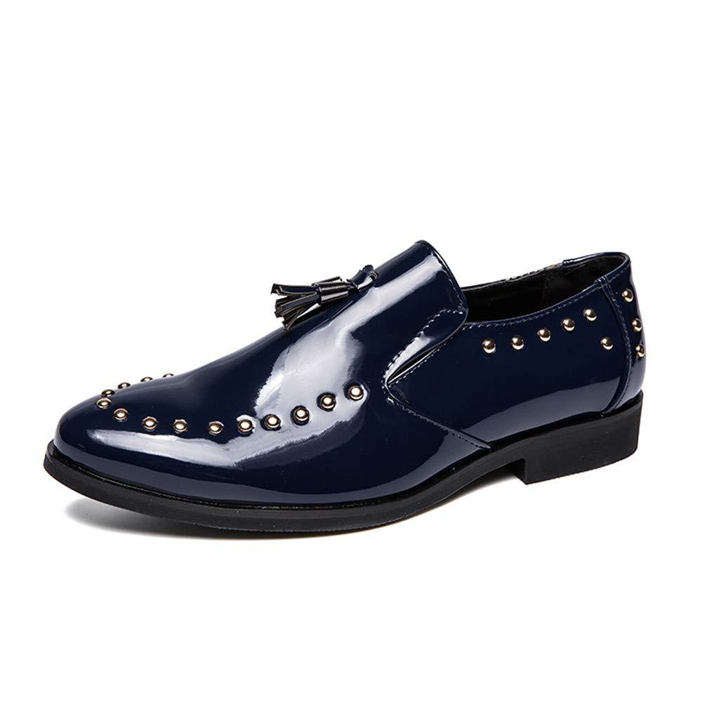 Für die neue Mode 2018, Herren Handmade Faux Lackleder Oxford Schuhe Handmade Herren Quaste Loafer Slip On Kleid Schuhe Marine 7b55ad