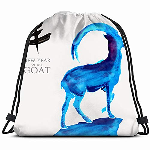 Happy Chinese New Year Goat 2015 Holidays Drawstring Backpack Bag For Kids Boys Girls Teens Birthday, Gift String Bag Gym Cinch Sack For School And Party (Chinese New Year Of The Goat Or Sheep)