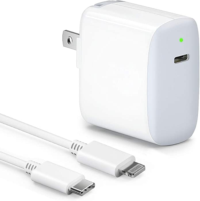 iPhone Fast Charger Apple Certified - 18W PD USB C Power Adapter, Wall Charger Plug for iphone11 Pro Max XS XR X 8 Plus iPhone SE 2020 iPad Pro with C to Lightning Cable, Foldable Plug [MFi Certified]
