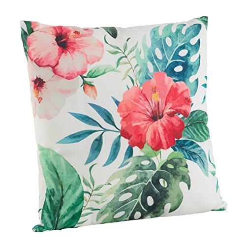 SARO LIFESTYLE 1458.M18S Indoor/Outdoor Hibiscus Floral Print Poly Filled Throw Pillow, Multi, 18