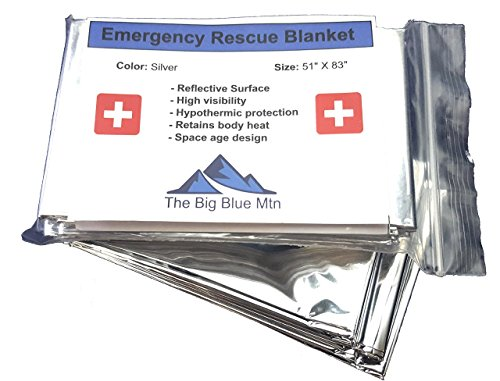 Emergency Blankets 3 Pack Reusable Thermal Blanket Survival Kit The Big Blue Mtn