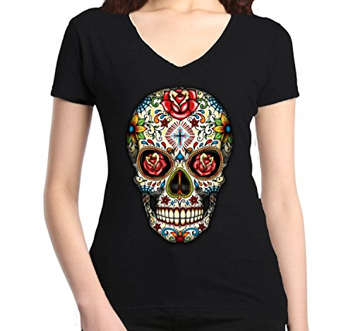 Shop4Ever Skull Red Roses Womens V-Neck Day of the Dead Shirts SLIM FIT