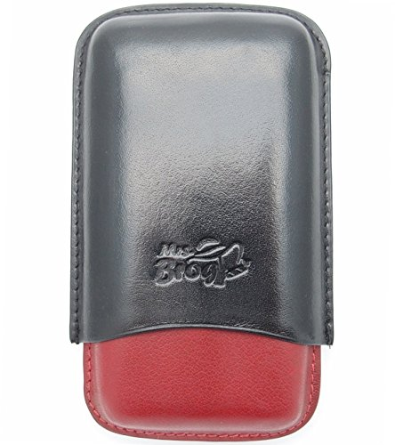 (La Habanos Leather Cigar Case for 3 - Authentic Full Grade Buffalo Hide Leather - Black+Red)
