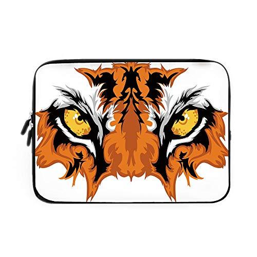 Eye Laptop Sleeve Bag,Neoprene Sleeve Case/Tiger Eyes Graphic Mascot Animal Face Bengal Cat African Safari Predator Theme Decorative/for Apple MacBook Air Samsung Google Acer HP DELL Lenovo A