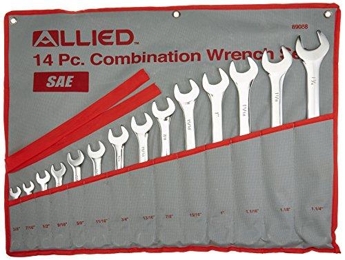 14PC Piece SAE Standard Combination Wrench Set w Roll-Up Pou