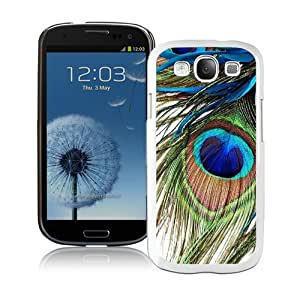 Beautiful Samsung Galaxy S3 Case ,Unique And Lovely Designed With Peacock Feather White Samsung Galaxy S3 Phone Case