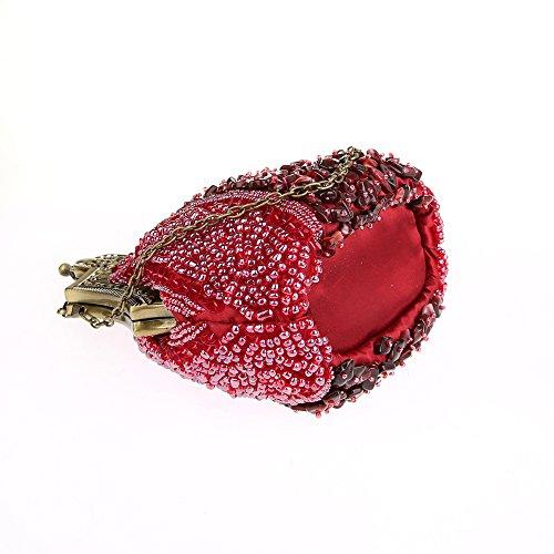 Evening Clutch Purse Beaded Beaded KAXIDY Clasp Clutch Antique Seed Red Bronze Evening Handbag qt84a