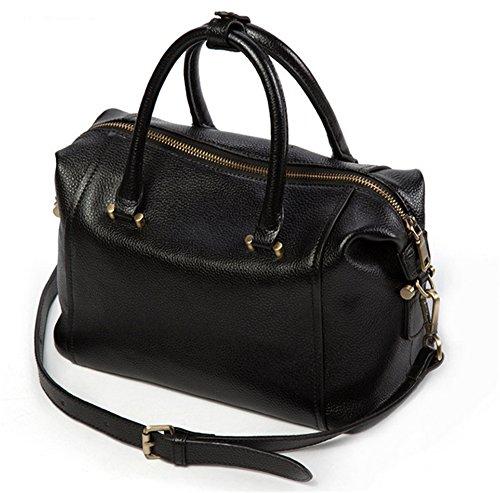 Xinmaoyuan Mujer bolsos de cuero Bolsos de cuero Boston hombro Bolsa Bolsa almohada diagonal Negro
