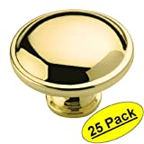 Amerock BP53015-3 Polished Brass Cabinet Hardware Round Ring Knob - 1-1/4'' Diameter - 25 Pack