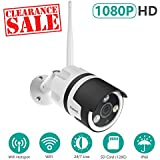 Firstrend 1080P Wireless Security Camera, Wifi Hotspot IP Camera with Nigh Vision and IP66 Waterproof, Free APP IP Security Camera for Remote Monitoring