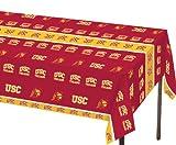 Creative Converting 330558 54'' x 108'' Usc Trojans Plastic Banquet Table Cover, Multicolor